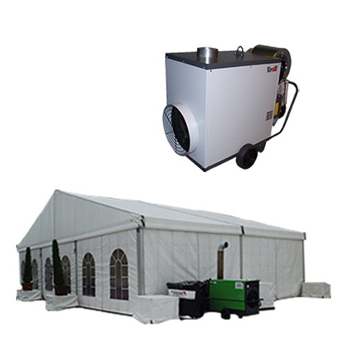 weißes großes Zelt mit Zeltbeheizung weißer Hintergrund